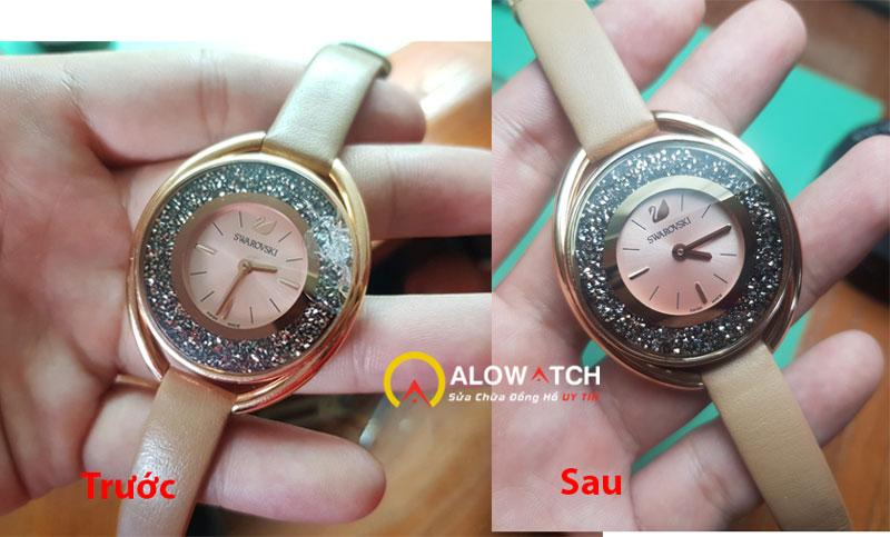 thay kính zin cho đồng hồ Swarovski nữ