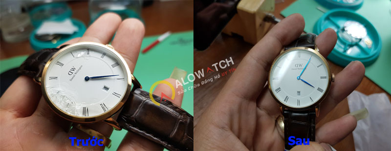 thay kính cho đồng hồ DW