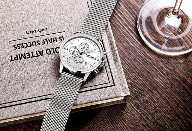 Đồng hồ Megir dây thép màu bạc