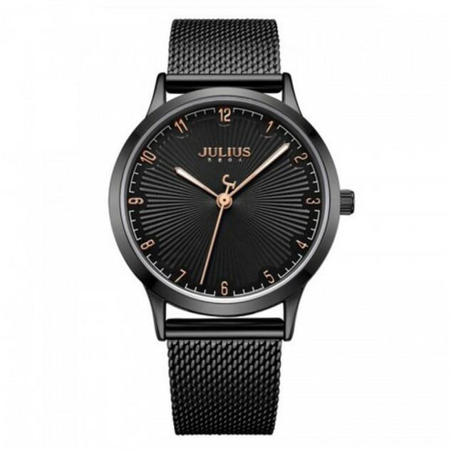 Đồng hồ nữ JA-1075E JULIUS Hàn Quốc dây thép (đen)
