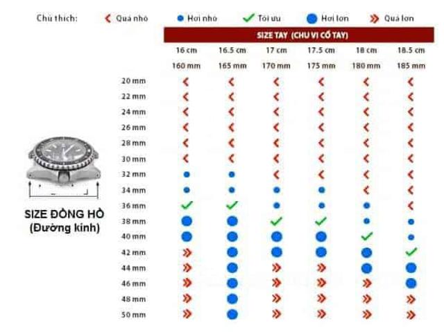 bảng chọn size đồng hồ