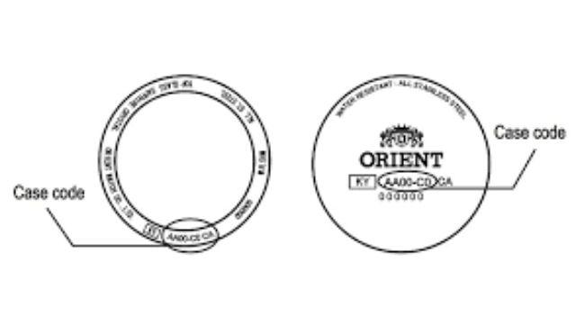 Bước 1: Tìm số seri (Case code) trên nắp lưng đồng hồ Orient.